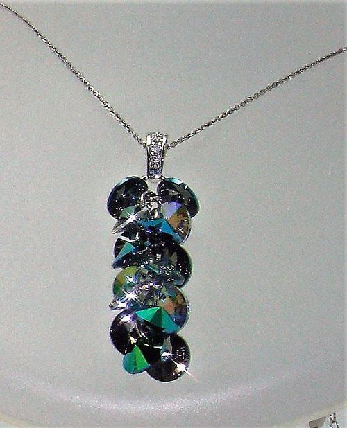 Colgante de plata de Cristal de Swarovski- tonalidades en verde